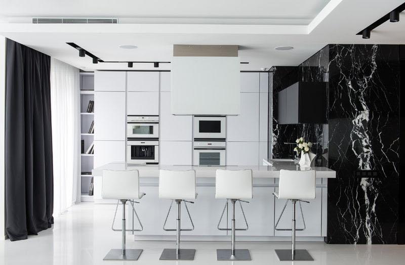 Cuisine d'appartement noir et blanc