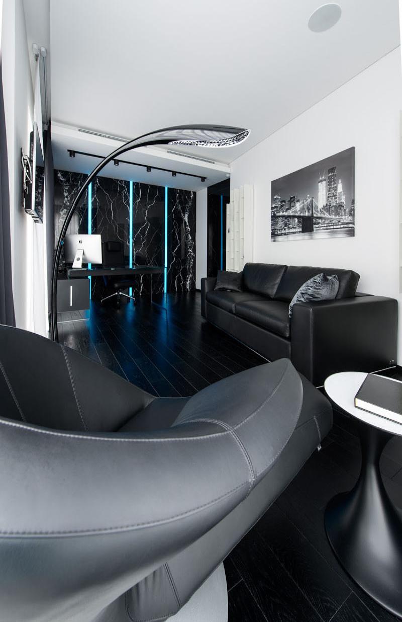 Bureau à domicile appartement noir et blanc