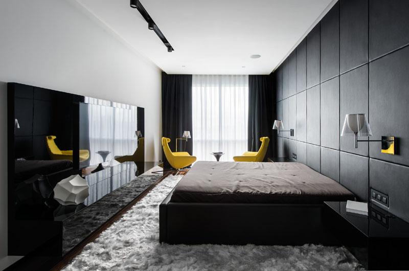 Chambre appartement noir et blanc
