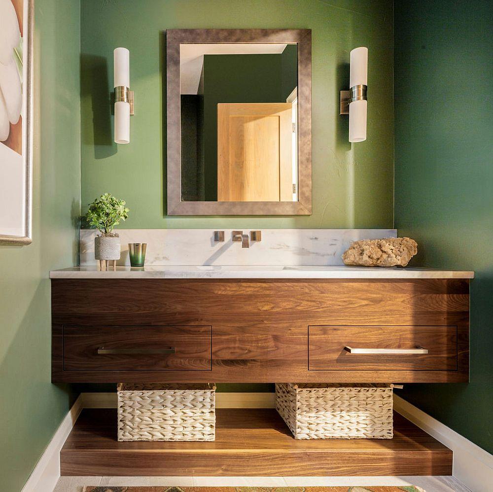 Vanité en bois sur mesure avec comptoir en pierre et fond vert clair pour la salle d'eau