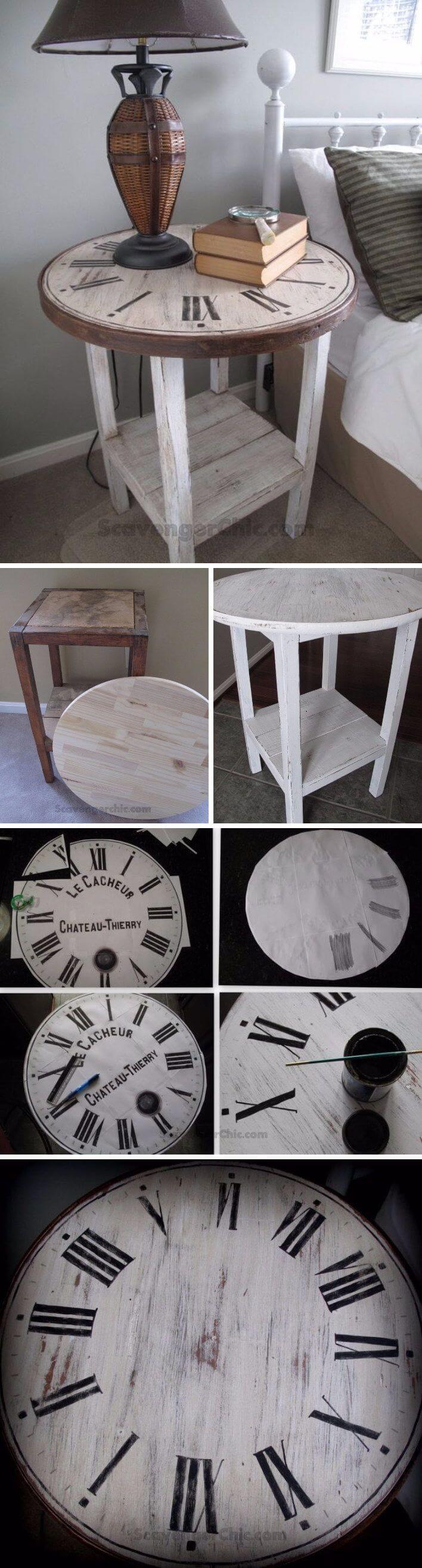 Table d'appoint en bois autour de l'horloge