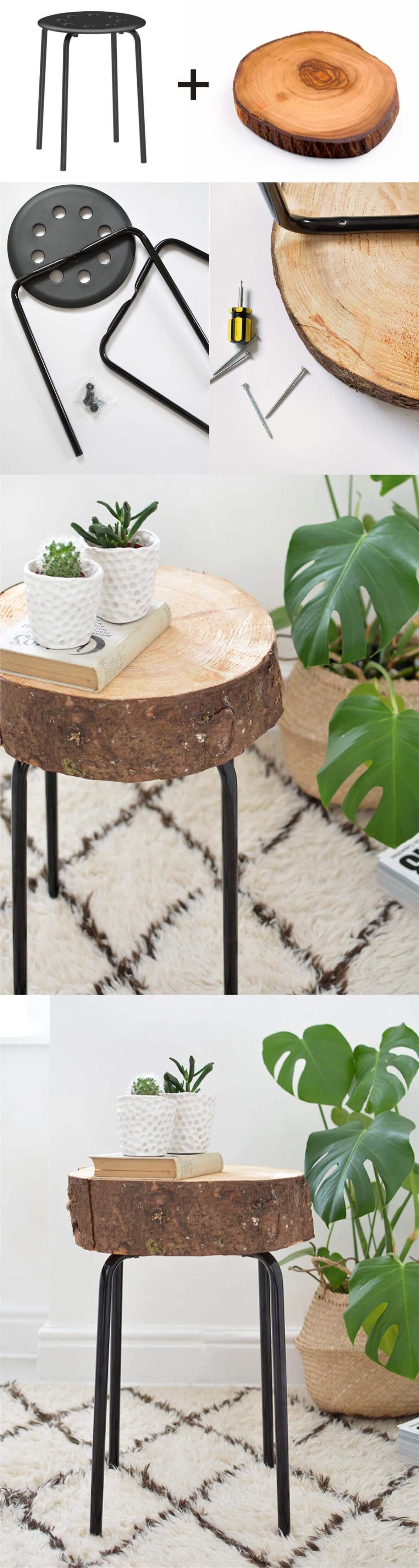 Table à tranches en bois assemblée à la main pièce par pièce