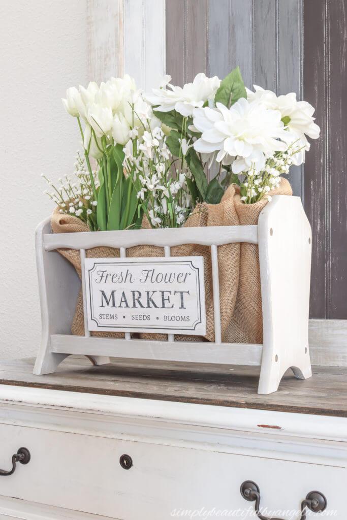 Présentoir floral de porte-revues de style cottage