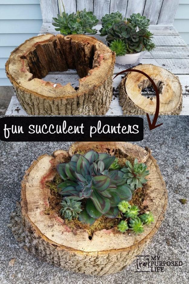 Faire une jardinière à partir d'une bûche