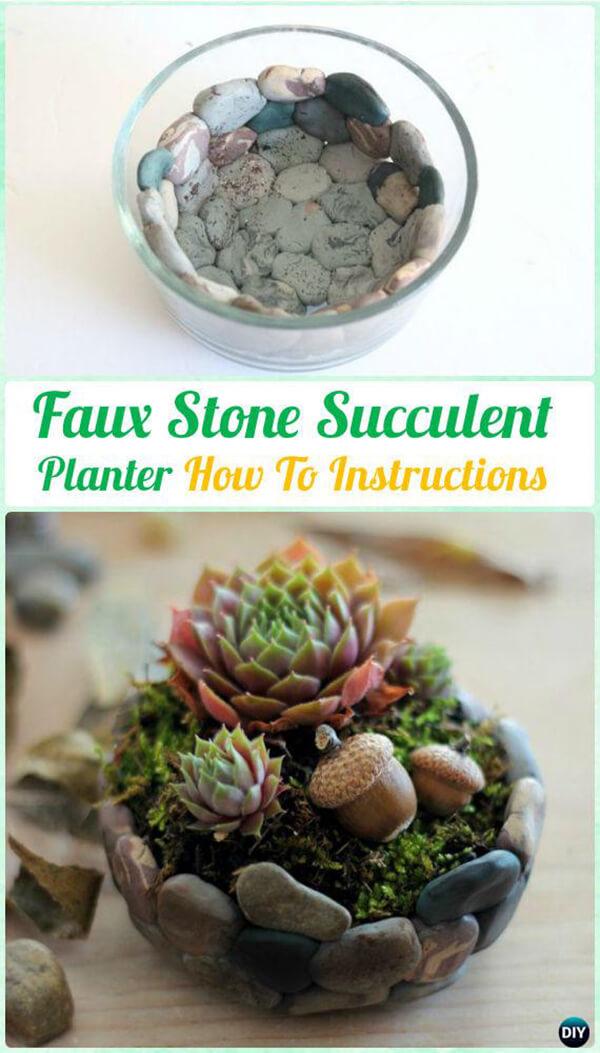 Créez une jardinière en fausse pierre avec des plantes succulentes