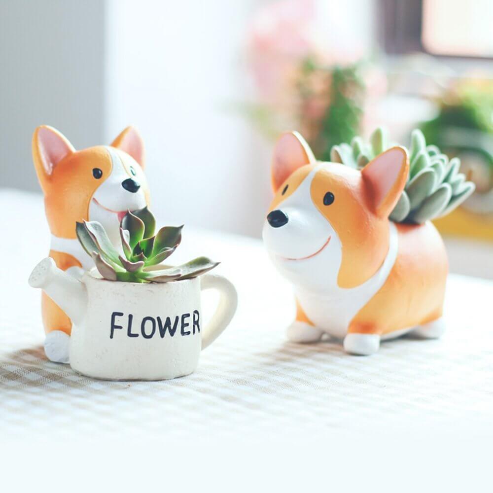 Petits pots pour chiens Corgi avec des plantes mignonnes