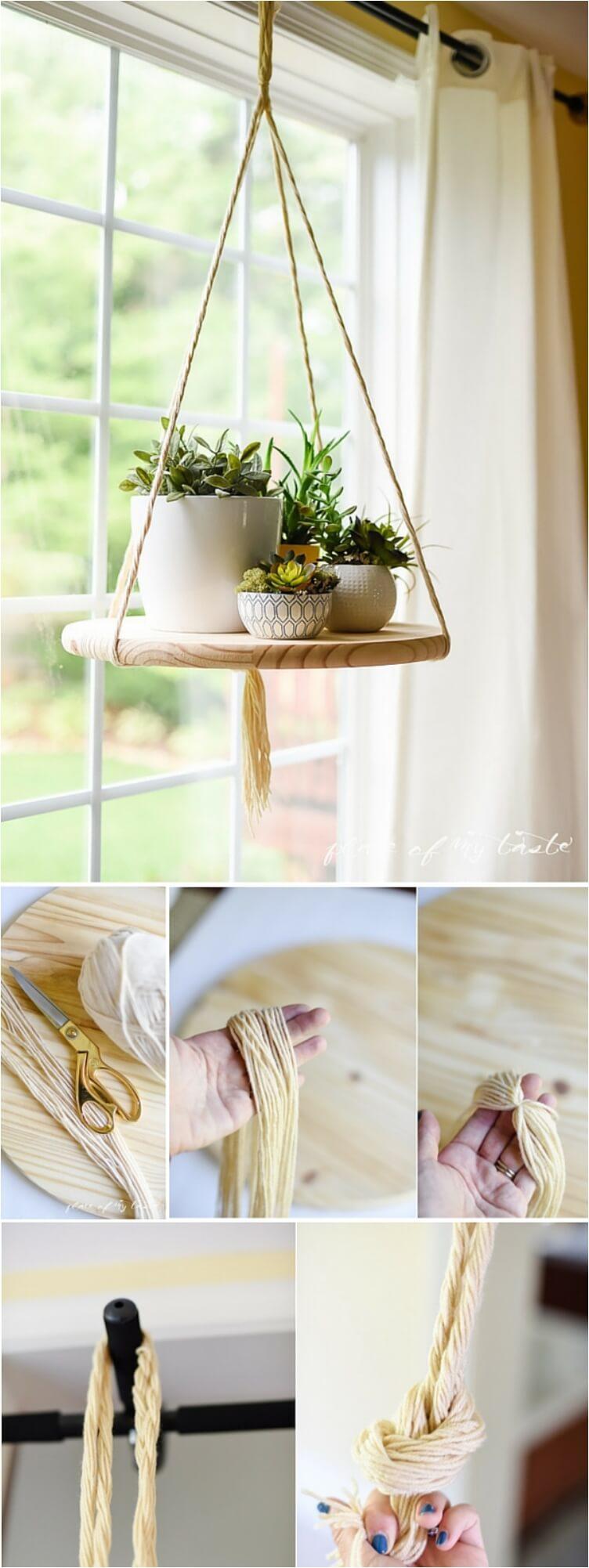Une idée d'étagère suspendue en corde pour les plantes