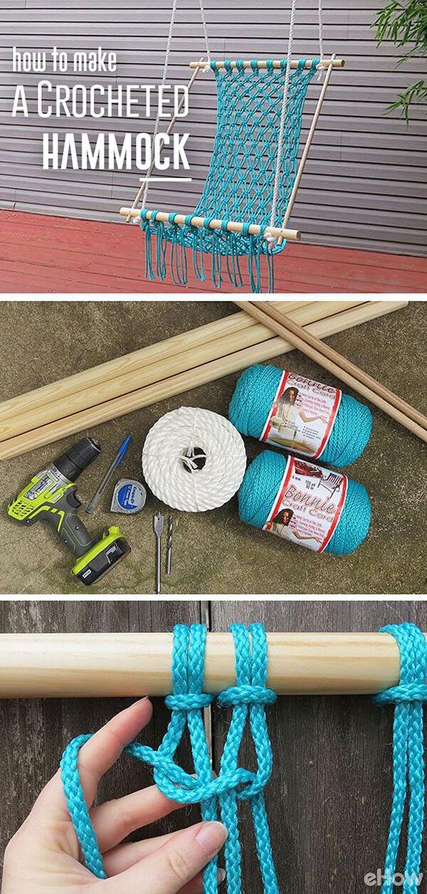 Un hamac au crochet avec une corde turquoise