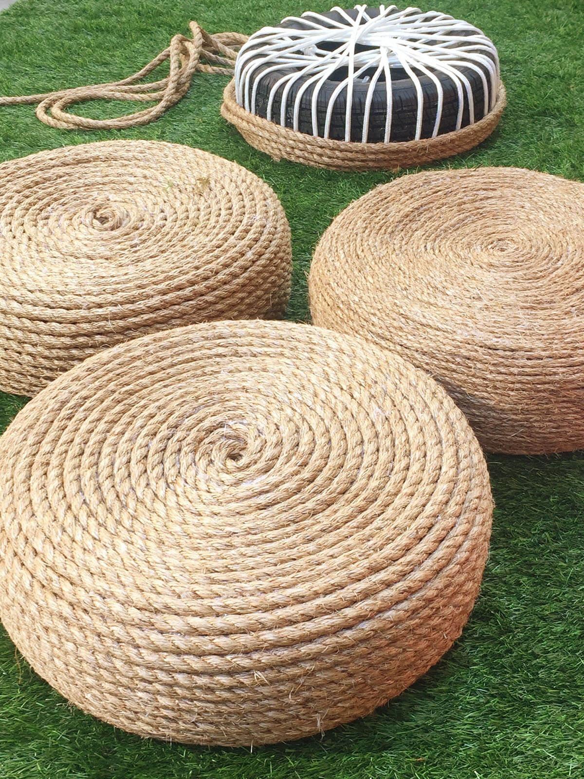 Sièges de pneu de corde en spirale pour l'extérieur
