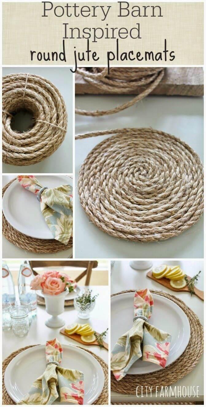 Sets de table en corde en spirale pour la table de cuisine