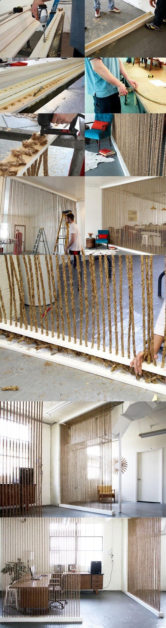 Stores en corde conçus pour créer un mur
