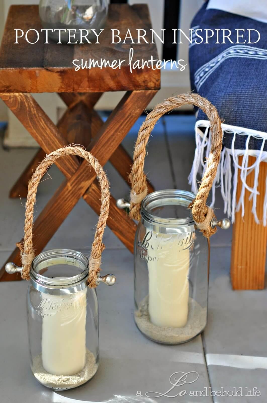 Bougies Mason Jar avec poignées en corde