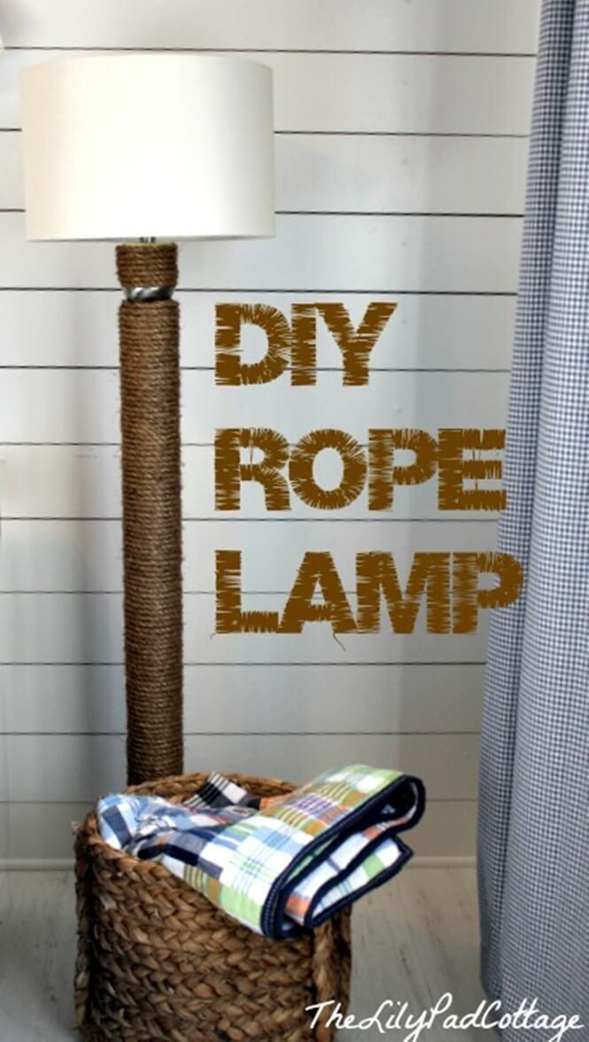 Une lampe en corde élégante pour la chambre à coucher