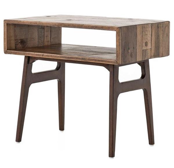 Table de chevet géométrique rustique moderne en bois récupéré Ryan