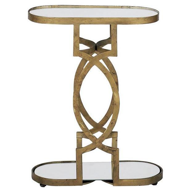 Tables d'appoint géométriques Natasha Art Déco en laiton antique