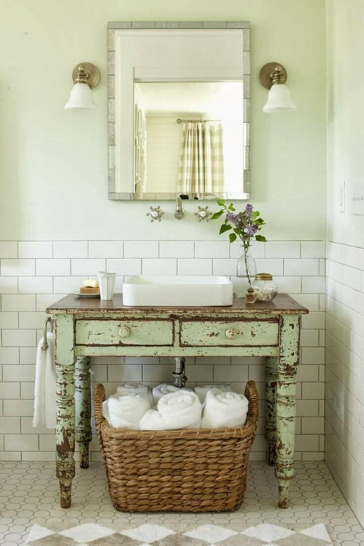 Meuble-lavabo de salle de bain de table antique réutilisé