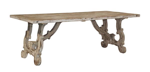 Tables de salle à manger Vennie en pin vieilli blanc antique