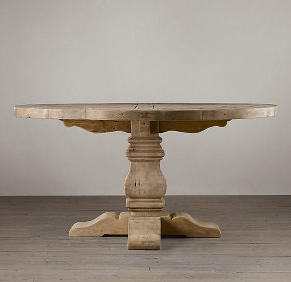 Table ronde à chevalet en bois récupéré