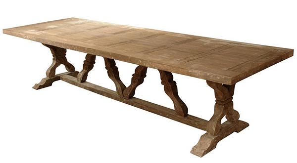 Tables de salle à manger à chevalets Linley Heavy Distress Farm House 14 personnes