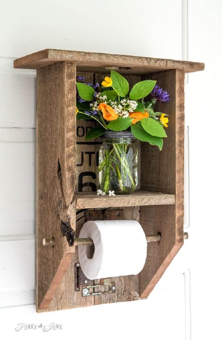 Porte-papier hygiénique en palette de style Outhouse