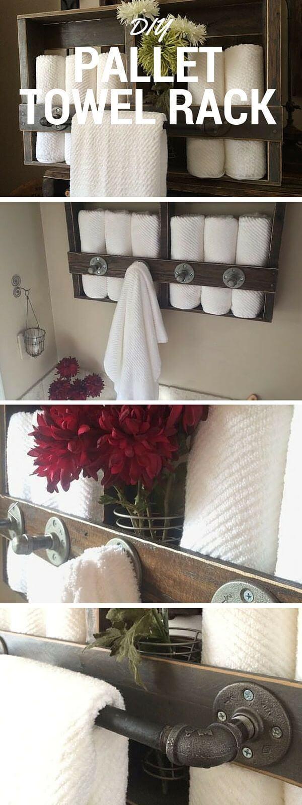 Porte-serviettes de palette rustique réutilisé