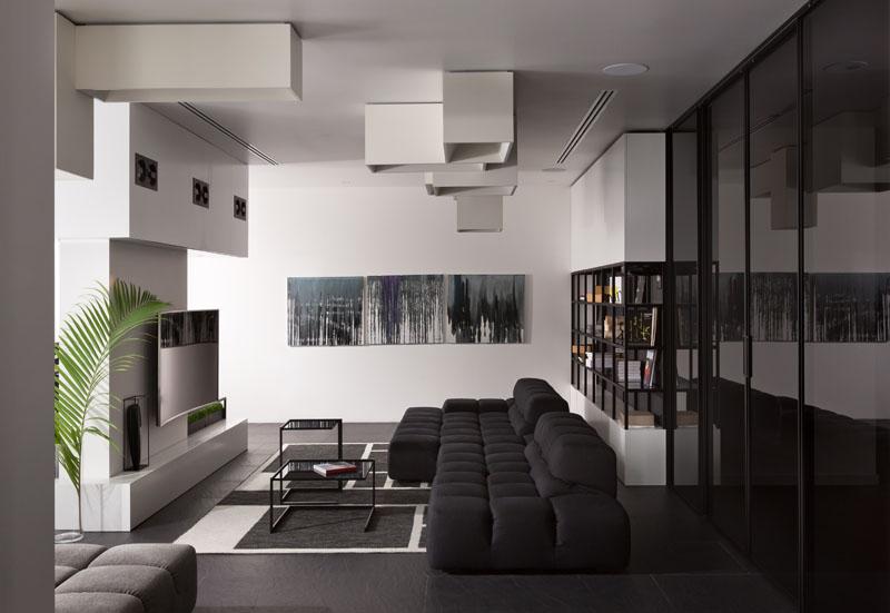 Appartement noir et blanc vivant