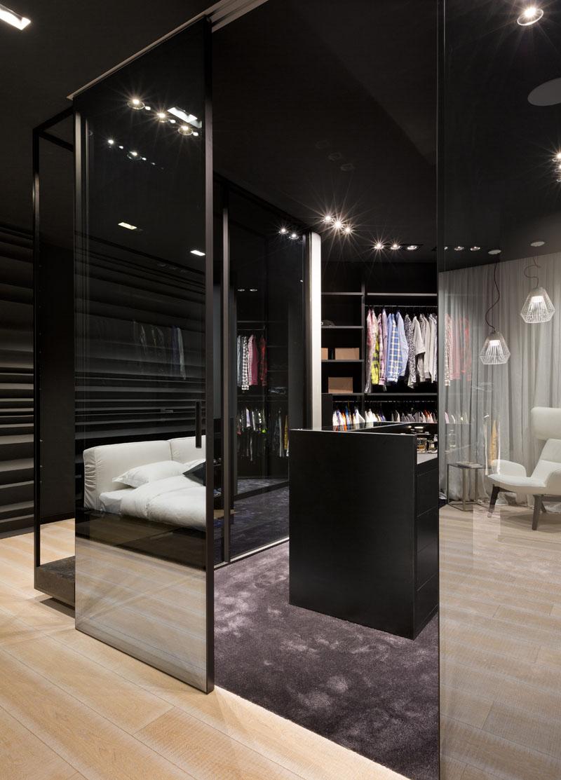 Cheminée d'appartement noir et blanc
