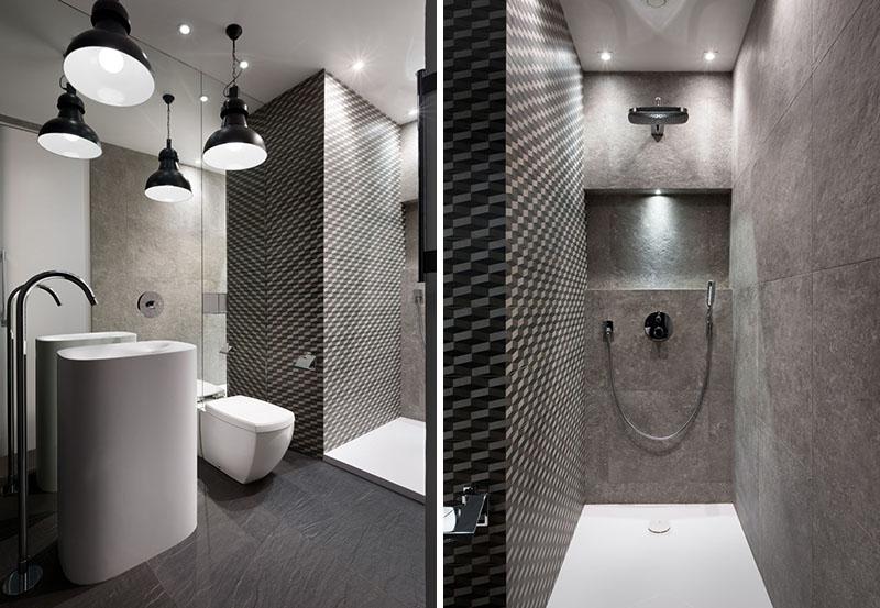 Douche d'appartement noir et blanc