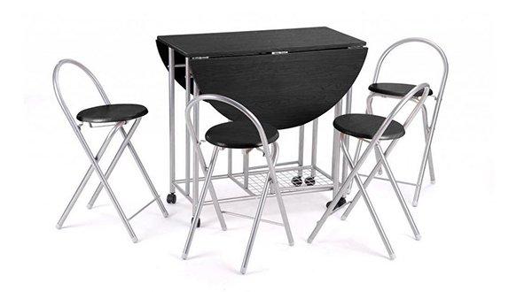 Revesun 5Pcs Butterfly Set Table de cuisine avec un design pliant unique - Noir