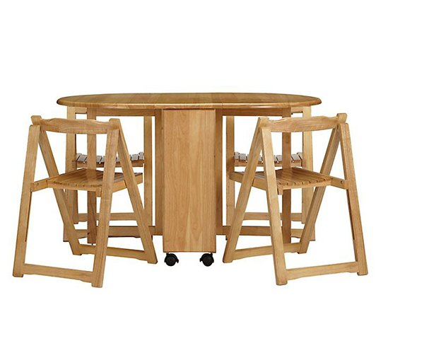 Table de salle à manger pliante papillon et quatre chaises John Lewis