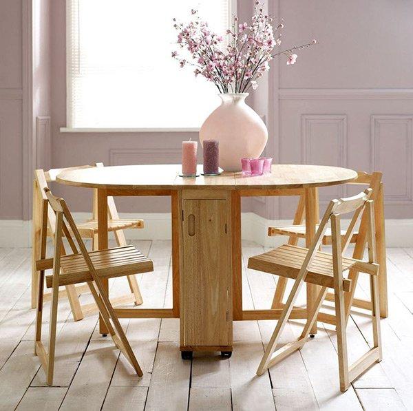 Table papillon en bois d'hévéa avec 4 chaises
