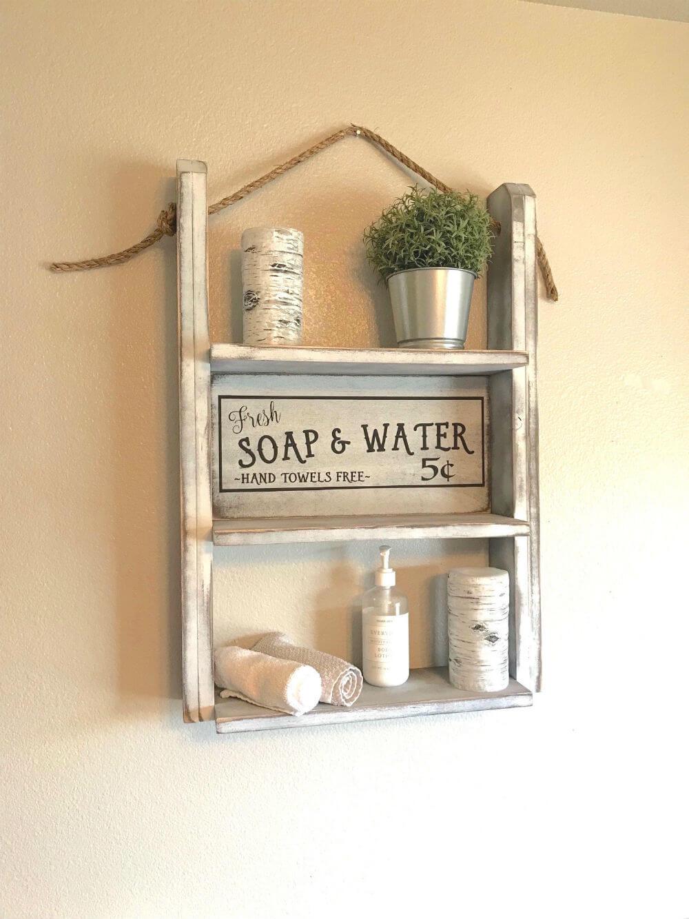 Étagère de salle de bain de ferme Red Roan Signs