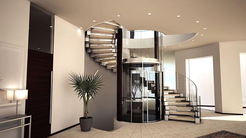 Escalier principal autour de l'ascenseur