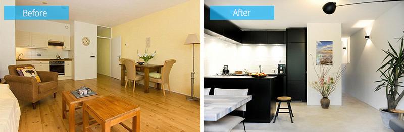 armoires de cuisine intérieures en bois noir