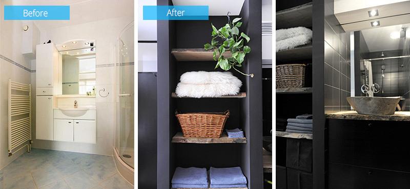 salle de bain intérieur noir en bois avant