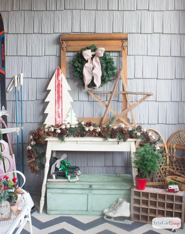 Idées de décoration de porche vintage pour Noël