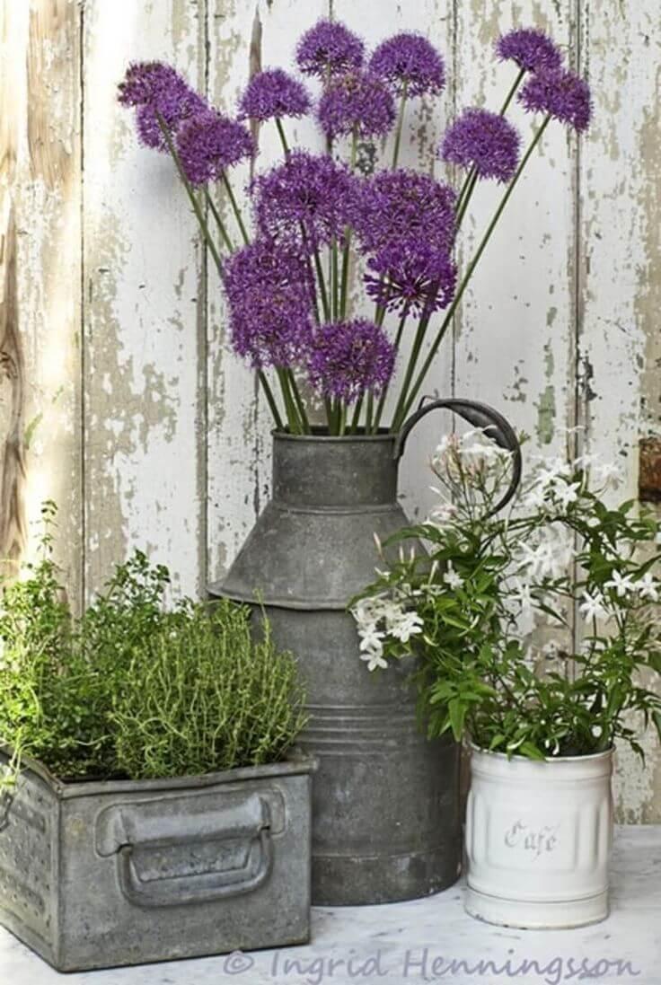 Acier galvanisé avec fleurs sauvages des prairies