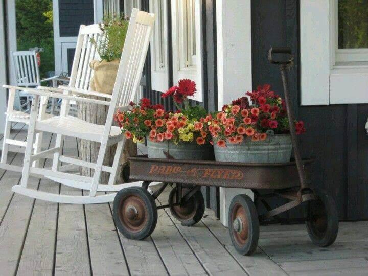 Un chariot plein de fleurs