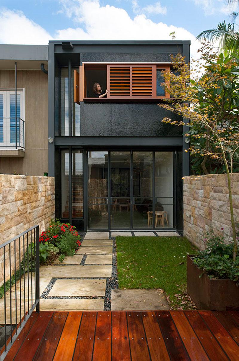 Terrace House volets coulissants en bois