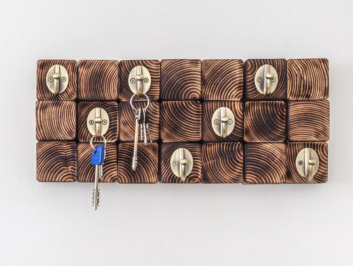 Art mural en bois et porte-clés