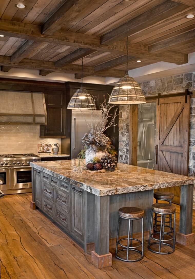 Cuisine rustique en bois et pierre Sierra Escape
