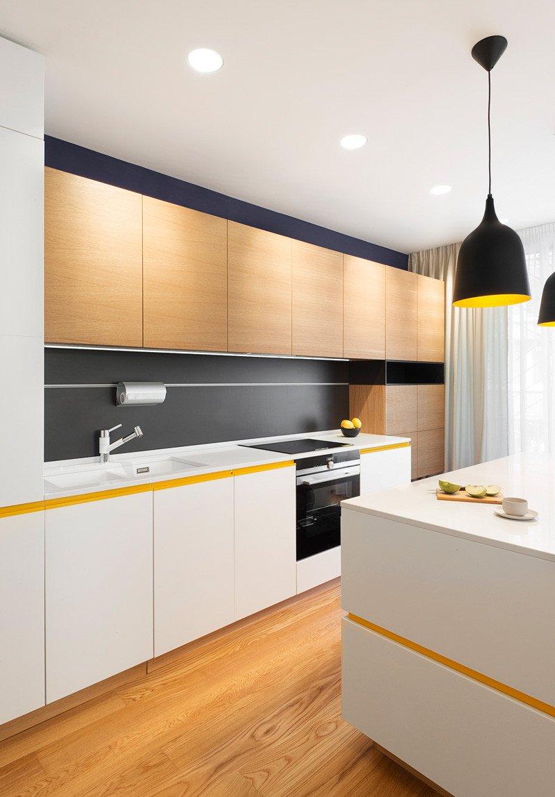 Îlot de cuisine appartement jaune