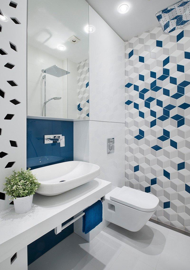 Salle de bain de l'appartement jaune