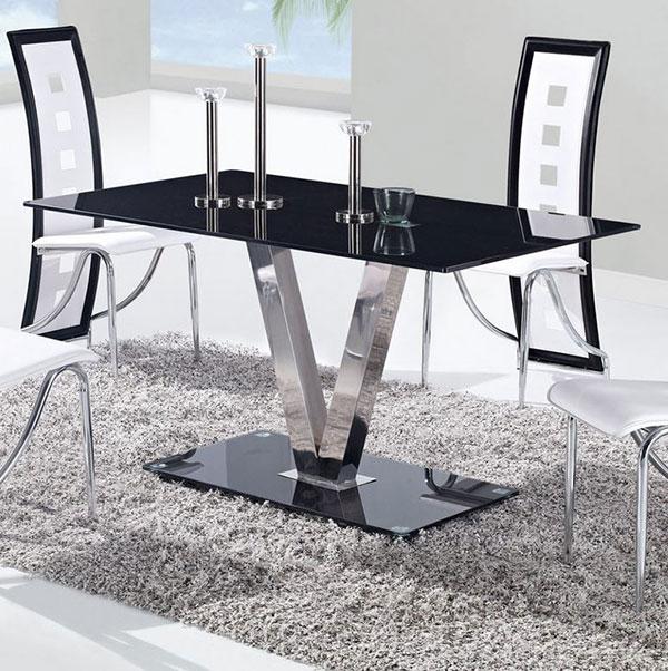 Tables de salle à manger en verre avec pieds en acier inoxydable
