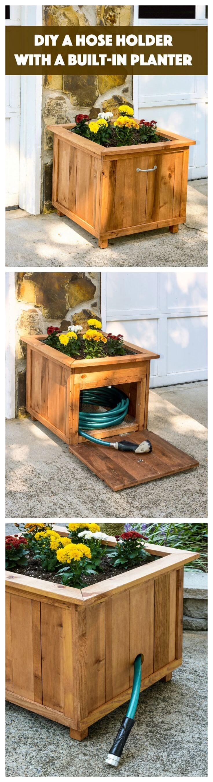 Rangement de tuyau de jardinière bricolage