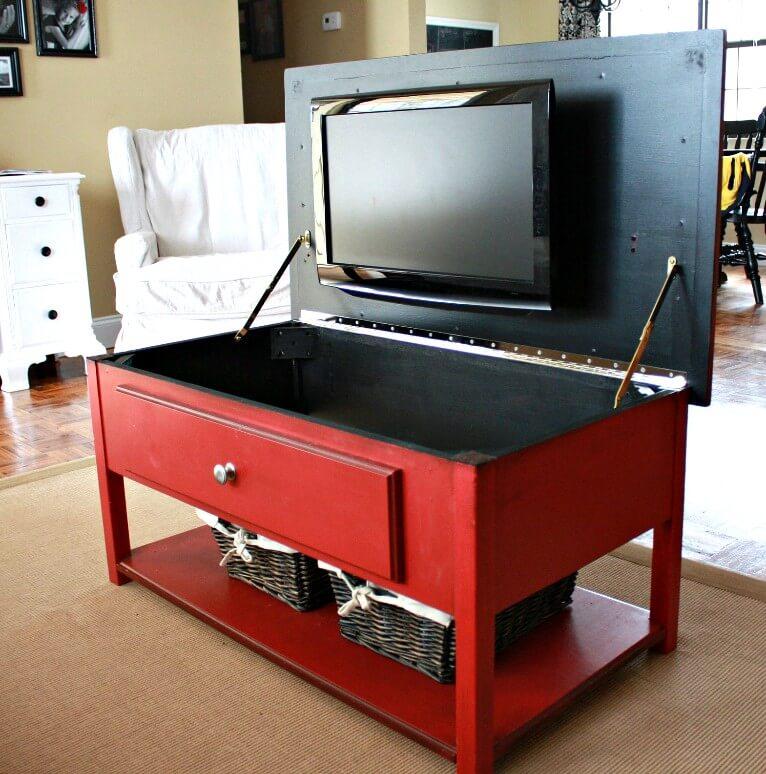 Table basse de salon avec support de télévision caché