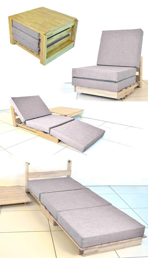 Chaise, lit et table convertibles tout-en-un