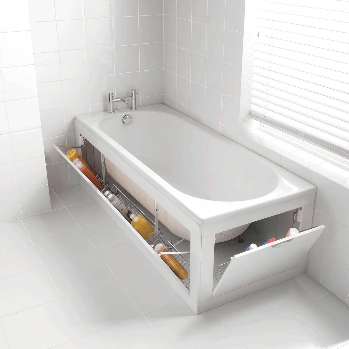 Rangement ingénieux de baignoire pour petites salles de bain