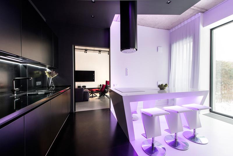 Appartement noir et blanc violet