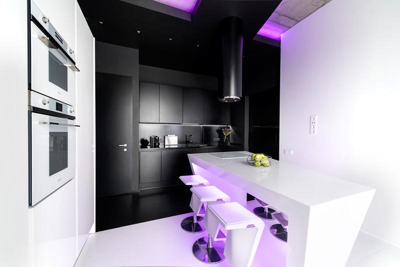 Île d'appartement noir et blanc